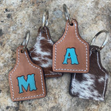Custom Stamped Keychain W/ Cowhide Back