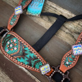 Square Blinged Out Aztec Cheek Halter