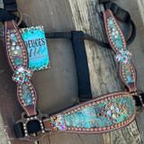 Turquoise & Bronze Crackle Cheek Halter