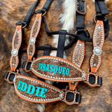Laser Engraved & Painted Name Hide Cheek Halter