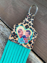 Printed Photo Ear Tag-Cheetah, Cactus & Heart
