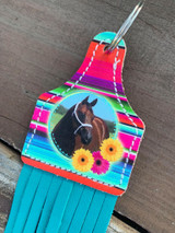 Printed Photo Ear Tag-Serape & Flowers