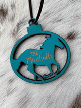 Running Horse Circle Cut Out w/ Name Wood Tag