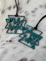 Double Name Aztec Cut Out Wood Tag