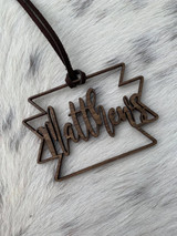 Single Name Aztec Cut Out Wood Tag