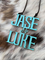 Rustic Double Name Cut Out Wood Tag