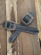 Belt Style Spur Straps In Stock-Black Gator