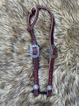 Buckstitched One Ear Headstall-Chocolate w/ Red