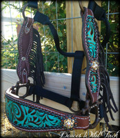 *PICK YOUR HIDE* Cheek Halter With Fringe & Bling