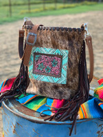 Hot Pink & Turquoise Hand Tooled Floral on Brindle Crossbody
