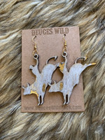 In Stock Gold & White Acid Wash Bucking Bull Earrings