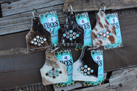 Cowhide & Bling Keychains
