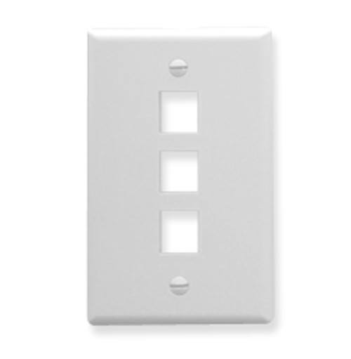ICC FACEPLATE, OVERSIZED, 3-PORT, WHITE IC107LF3WH
