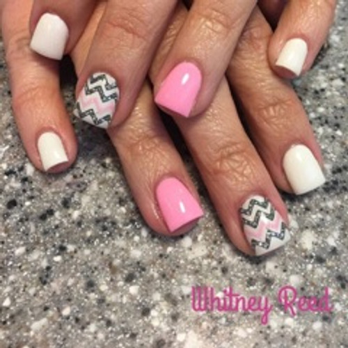 Nail Tech Whitney Reed created this beautiful set using pigment #1003 with a little of the SO Simple white hard gel.