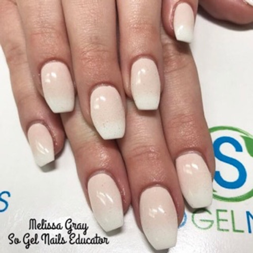 SO Gel Nails Educator Melissa Gray using SO Simple pre-mixed hard white gel and color pigment #176