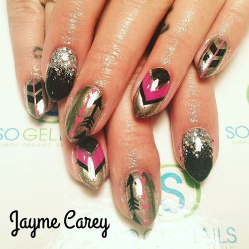 Chrome pigment with SO Simple tuxedo black hard gel with design tape