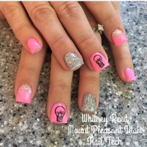 Nail Tech Whitney Reed from Mount Pleasant, UT used color pigment #1003 to create this bright and glittery set