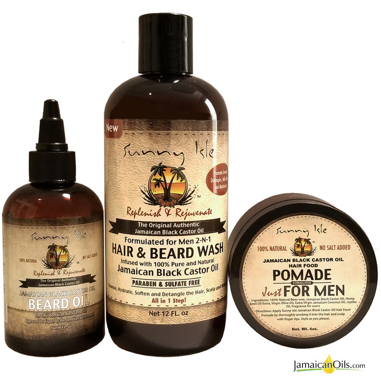 Sunny Isle JBCO 2-N-1 Hair & Beard Wash Formulated Just for Men 12oz with Beard Oil and Pomade 4oz Combo
