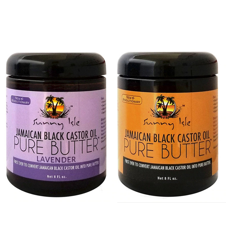 Sunny Isle LAVENDER and Jamaican Black Castor Oil PURE BUTTER 8oz (Pack of 2)