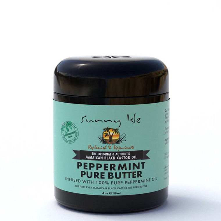 Sunny Isle Jamaican Black Castor Oil Pure Butter Infused with Peppermint Oil 4oz