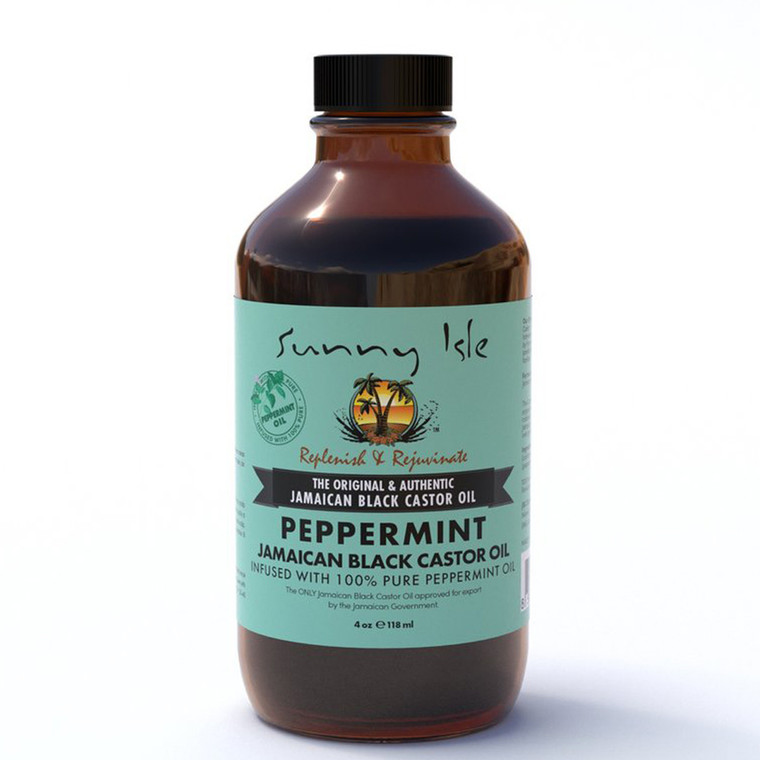 Sunny Isle Jamaican Black Castor Oil Infused with Peppermint Oil 4 oz