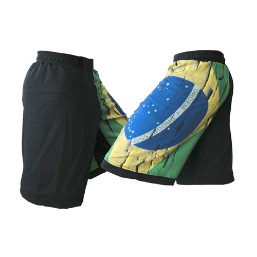 Distressed Brazil Flag MMA Shorts