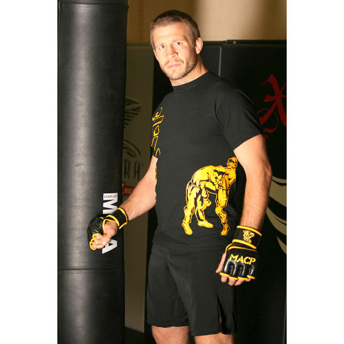 MACP - Hollow Black and Gold Fight Shirt- Knee - 100% Cotton