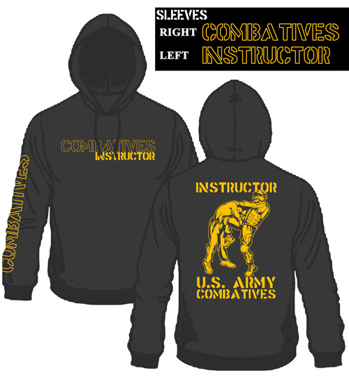 New Combatives Instructor Hoodie Black with Gold Ink  - 50/50 Cotton Blend