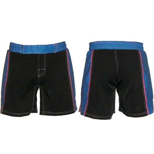 Women's Black and Blue Striped MMA Shorts - CLEARANCE