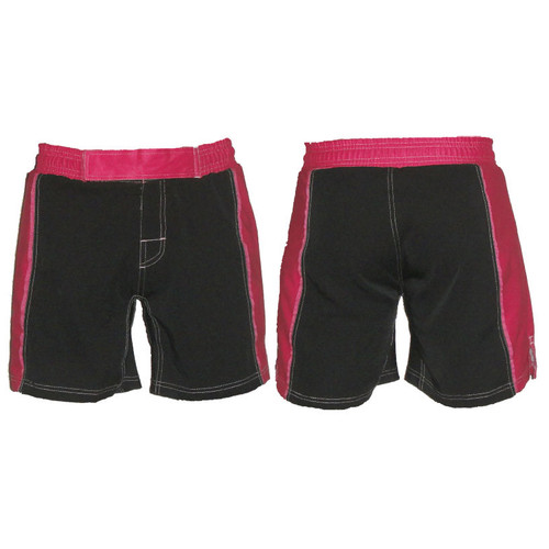 Black and Pink Striped Female MMA Shorts - CLEARANCE