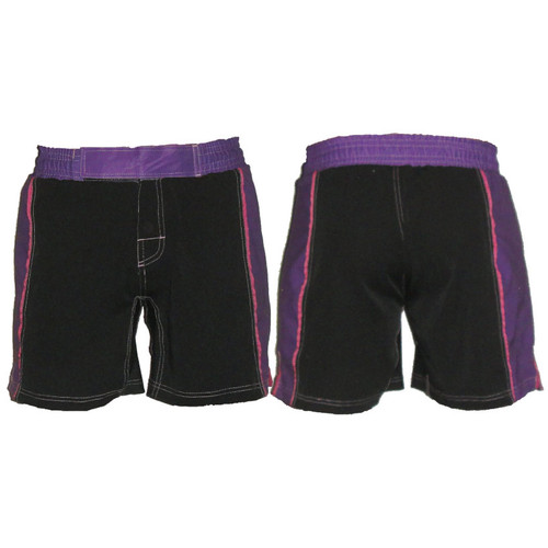Black and Purple Striped Female MMA Shorts - CLEARANCE