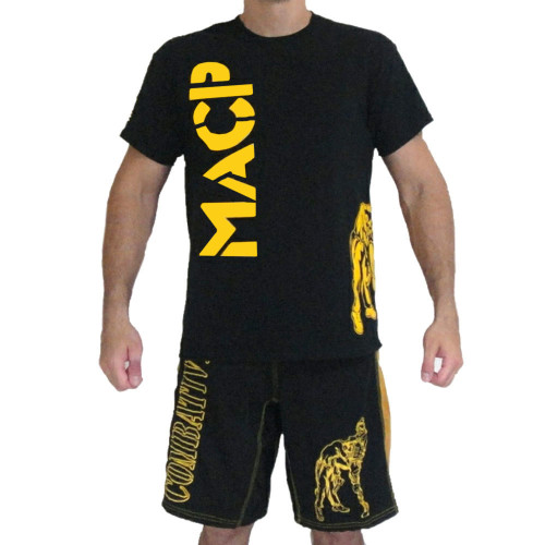 Black and Gold Knee Fight Shirt -100% Cotton