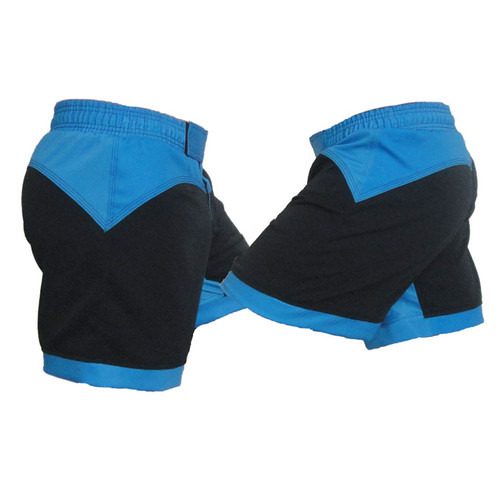Black and Blue Female MMA Shorts