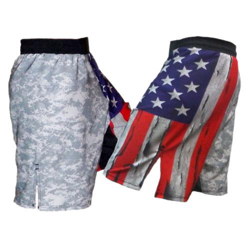 Distressed USA Flag and ACU MMA Shorts