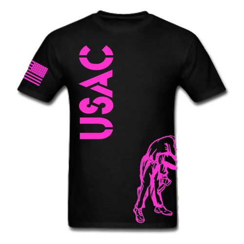 Black and Pink USAC Knee Fight Shirt -100% Cotton