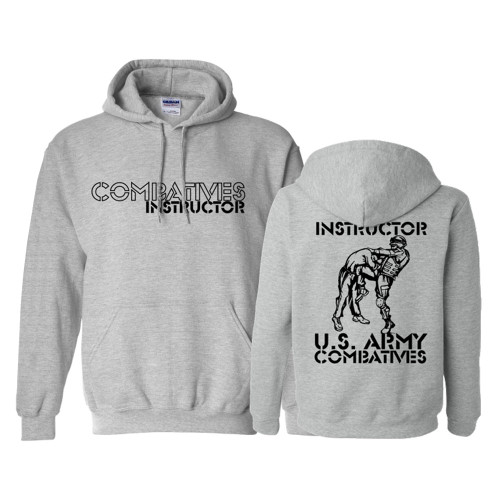 Combatives Instructor Hoodie Grey with Black Ink - 50/50 Cotton Blend