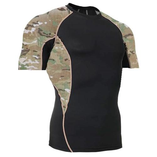 Multicam Camouflage Short Sleeve Side Panel Rash Guard