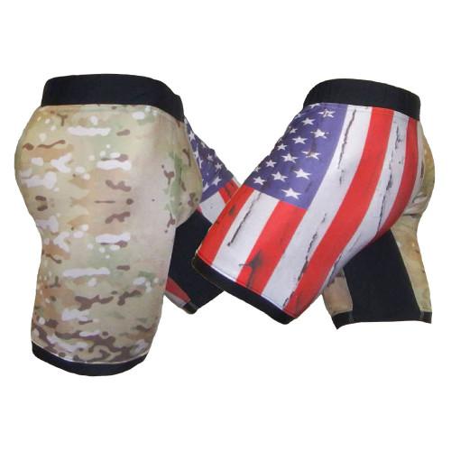 USA Distressed Multicam Vale Tudo Shorts