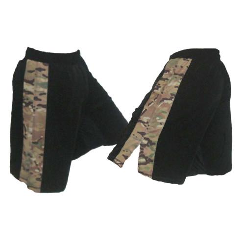Black MMA Fight Shorts with Multicam Stripe