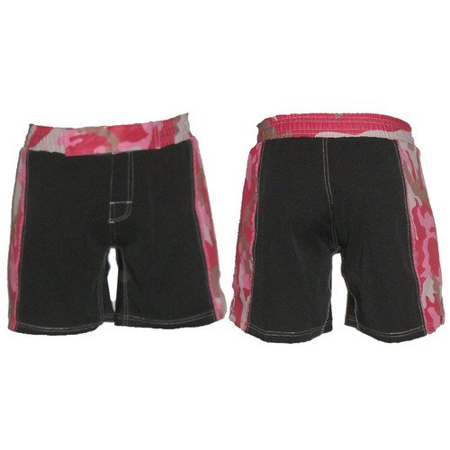 Black Female MMA Shorts with Pink Camo Belt - CLEARANCE