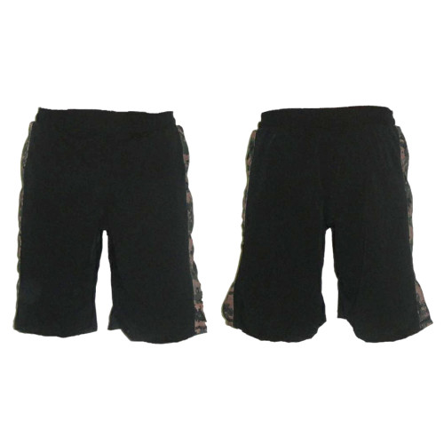 Black MMA Fight Shorts with MARPAT Stripe