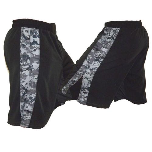 Black MMA Fight Shorts with NWU Stripe