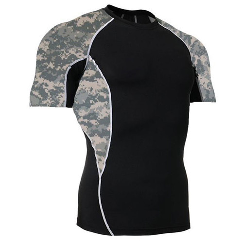 ACU Camouflage Short Sleeve Side Panel Rash Guard