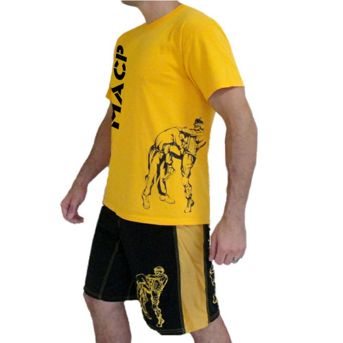 MACP Gold with Black Print Knee Fight Shirt -100% Cotton