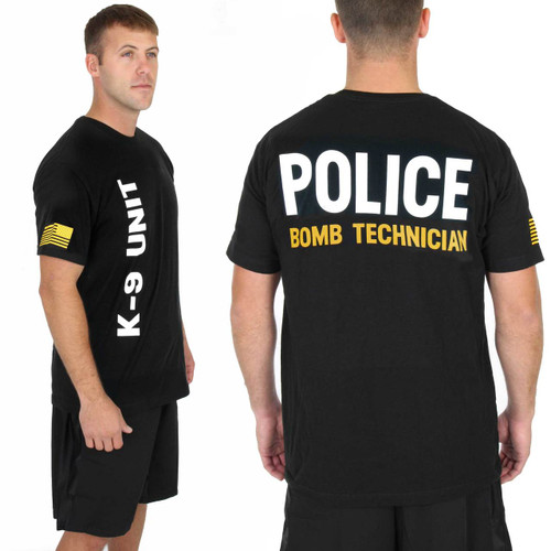 Police Bomb Technician Gold on Black 100% Cotton Tee