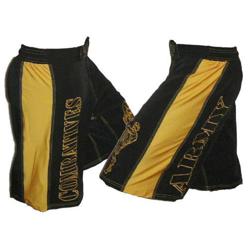 Black with Gold Stripe - Army Combatives Fight Shorts