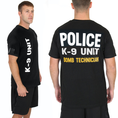 Police Bomb Technician Gold K-9 UNIT - K9 Verticle - on Black Tee