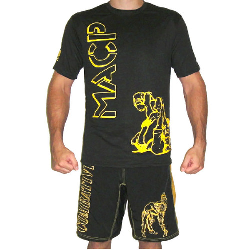 MACP Fight Shirt - Hollow Black and Gold - Ground - Cotton/Poly Blend