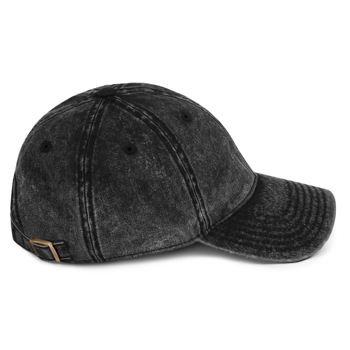 MACP Vintage Cotton Cap - Distressed Black with Gold Embroidery - Otto Cap