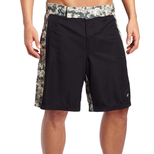 MMA Digital Insert Polyester Shorts - Black & Digital Army - Soffe